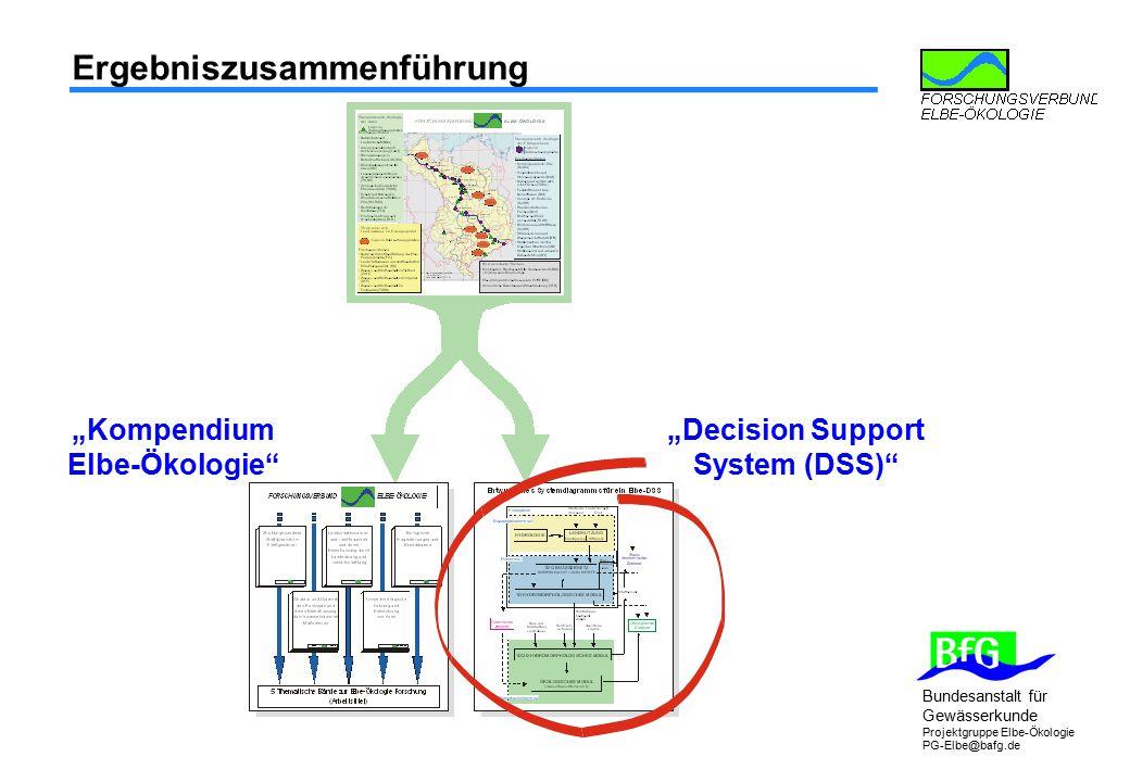 """Bundesanstalt für Gewässerkunde Projektgruppe Elbe-Ökologie PG-Elbe@bafg.de Ergebniszusammenführung """"Kompendium Elbe-Ökologie"""" """"Decision Support Syste"""
