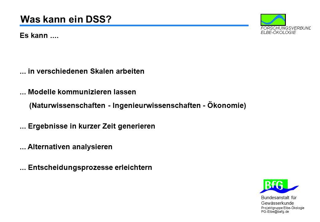 Bundesanstalt für Gewässerkunde Projektgruppe Elbe-Ökologie PG-Elbe@bafg.de Was kann ein DSS? Es kann....... in verschiedenen Skalen arbeiten... Model