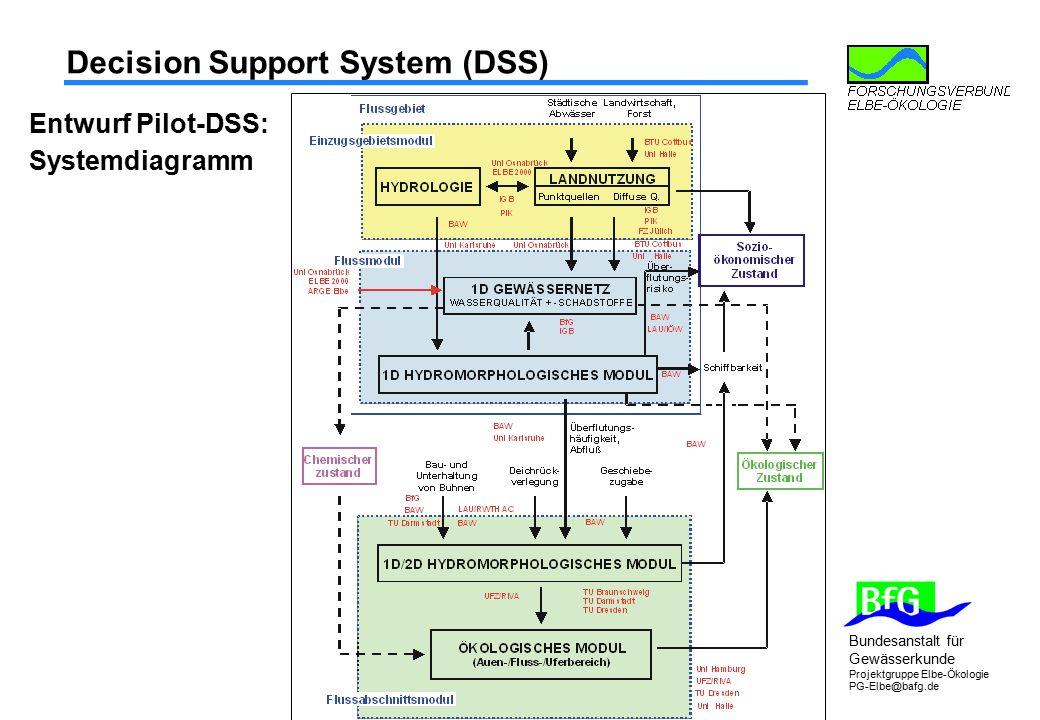 Bundesanstalt für Gewässerkunde Projektgruppe Elbe-Ökologie PG-Elbe@bafg.de Decision Support System (DSS) Entwurf Pilot-DSS: Systemdiagramm