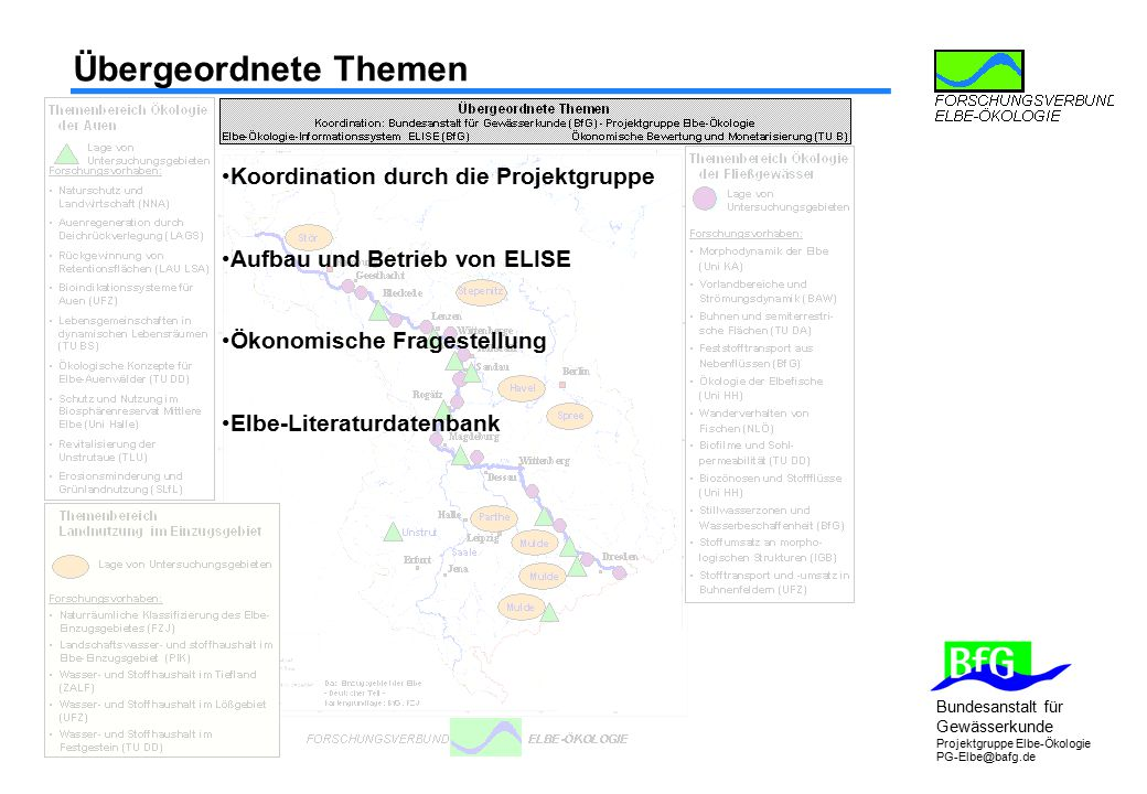 Bundesanstalt für Gewässerkunde Projektgruppe Elbe-Ökologie PG-Elbe@bafg.de Übergeordnete Themen Koordination durch die Projektgruppe Aufbau und Betri