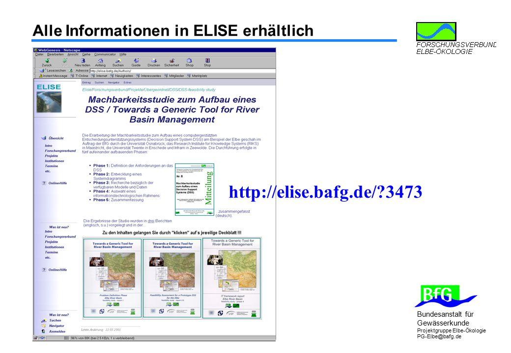 Bundesanstalt für Gewässerkunde Projektgruppe Elbe-Ökologie PG-Elbe@bafg.de Alle Informationen in ELISE erhältlich http://elise.bafg.de/?3473