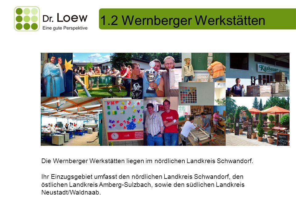1.2 Wernberger Werkstätten Die Wernberger Werkstätten liegen im nördlichen Landkreis Schwandorf. Ihr Einzugsgebiet umfasst den nördlichen Landkreis Sc