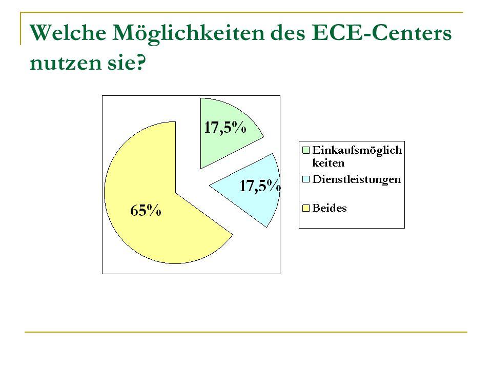 Welche Möglichkeiten des ECE-Centers nutzen sie?