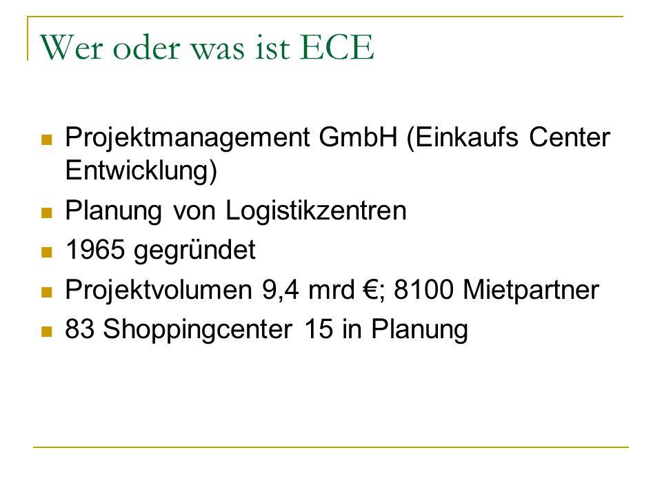 Allgemeine Daten des ECE Centers Karlsruhe Eröffnung 07.11.05 ca.