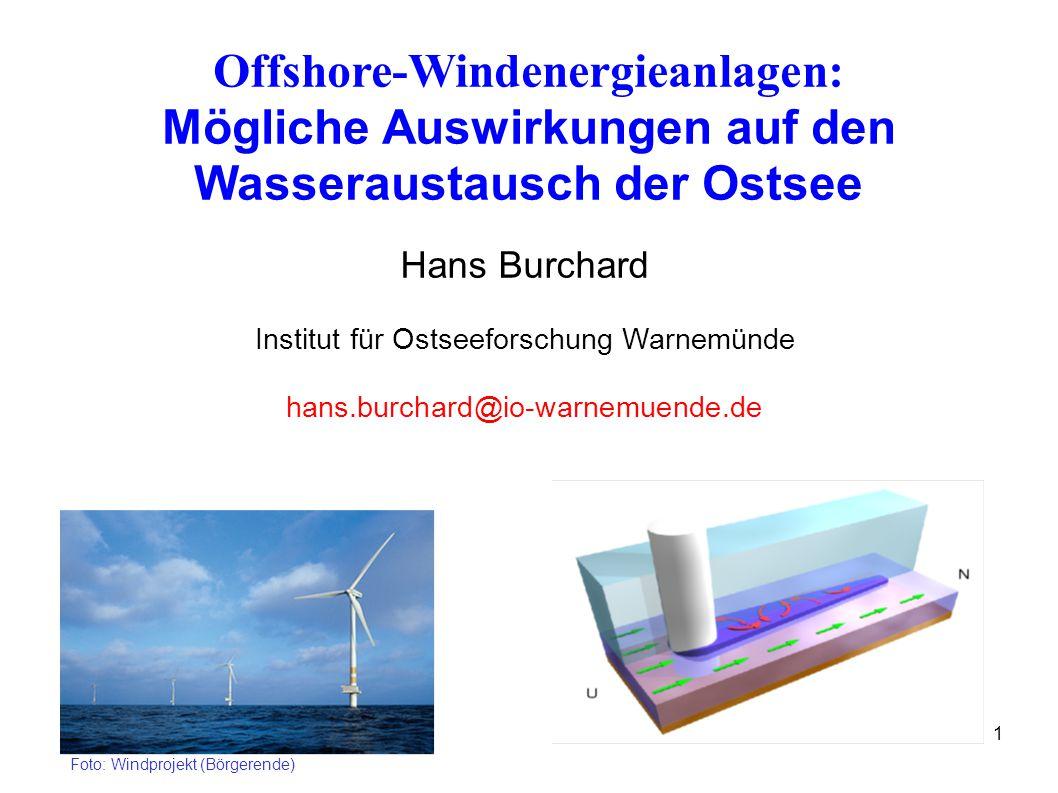 1 Offshore-Windenergieanlagen: Mögliche Auswirkungen auf den Wasseraustausch der Ostsee Hans Burchard Institut für Ostseeforschung Warnemünde hans.burchard@io-warnemuende.de Foto: Windprojekt (Börgerende)