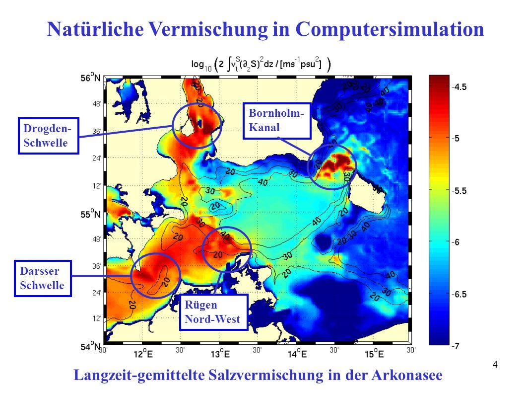 14 Natürliche Vermischung in Computersimulation Langzeit-gemittelte Salzvermischung in der Arkonasee Darsser Schwelle Drogden- Schwelle Bornholm- Kanal Rügen Nord-West