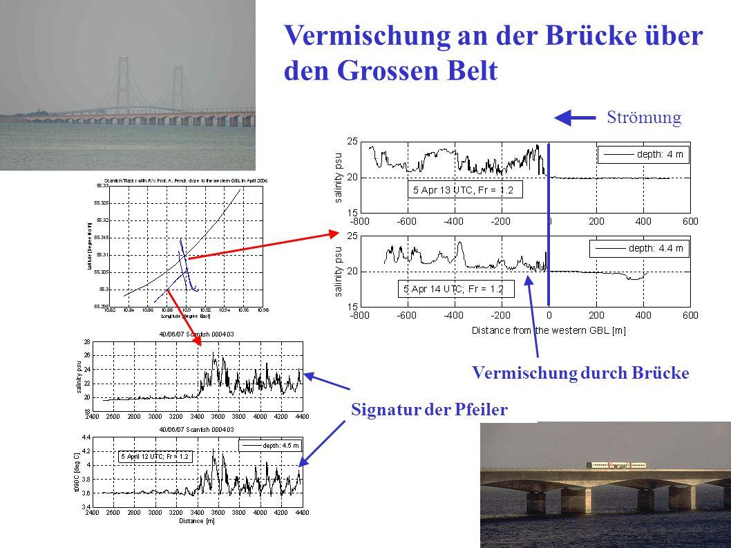 15 Signatur der Pfeiler Strömung Salzgehalt Temperatur Vermischung durch Brücke Vermischung an der Brücke über den Grossen Belt
