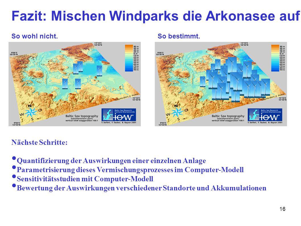 16 Fazit: Mischen Windparks die Arkonasee auf ? So wohl nicht.So bestimmt. Nächste Schritte: Quantifizierung der Auswirkungen einer einzelnen Anlage P