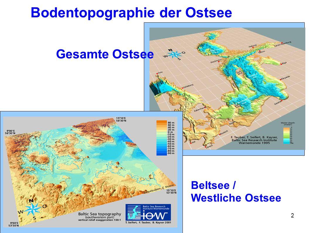 2 Bodentopographie der Ostsee Gesamte Ostsee Beltsee / Westliche Ostsee