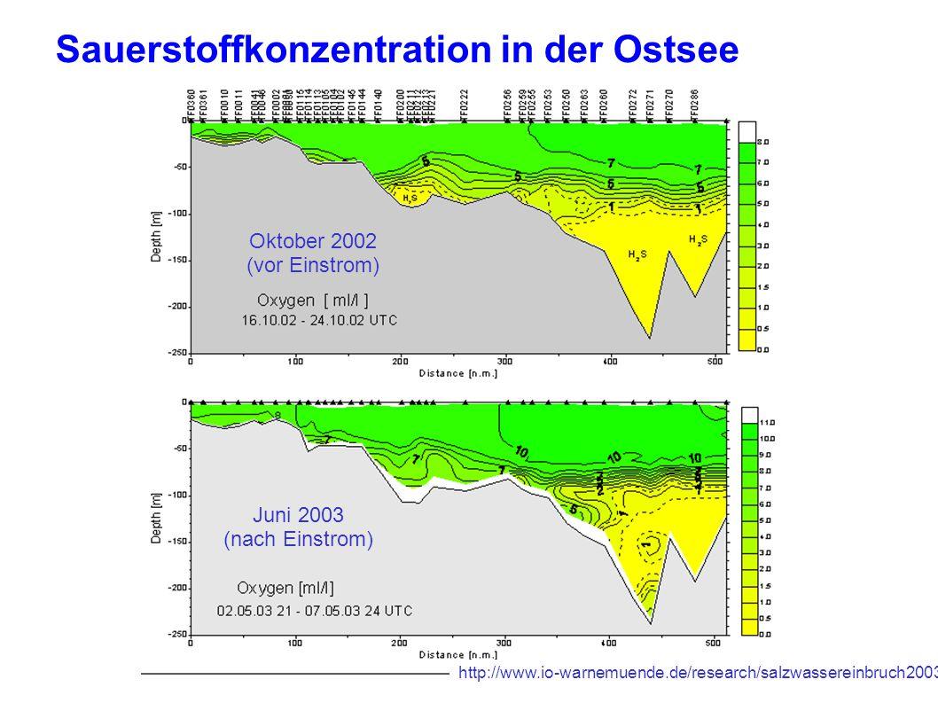 6 Oktober 2002 (vor Einstrom) Juni 2003 (nach Einstrom) Sauerstoffkonzentration in der Ostsee http://www.io-warnemuende.de/research/salzwassereinbruch