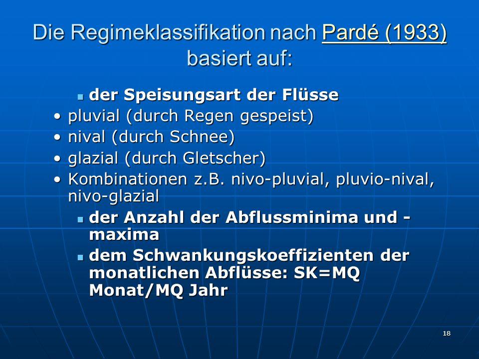 18 Die Regimeklassifikation nach Pardé (1933) basiert auf: Pardé (1933)Pardé (1933) der Speisungsart der Flüsse der Speisungsart der Flüsse pluvial (durch Regen gespeist)pluvial (durch Regen gespeist) nival (durch Schnee)nival (durch Schnee) glazial (durch Gletscher)glazial (durch Gletscher) Kombinationen z.B.