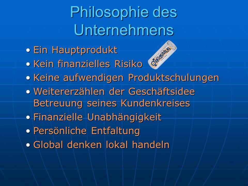 Philosophie des Unternehmens Ein HauptproduktEin Hauptprodukt Kein finanzielles RisikoKein finanzielles Risiko Keine aufwendigen ProduktschulungenKein