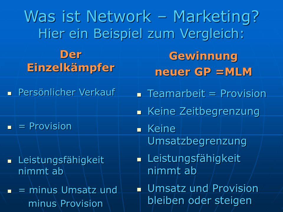 Was ist Network – Marketing? Hier ein Beispiel zum Vergleich: Der Einzelkämpfer Persönlicher Verkauf Persönlicher Verkauf = Provision = Provision Leis