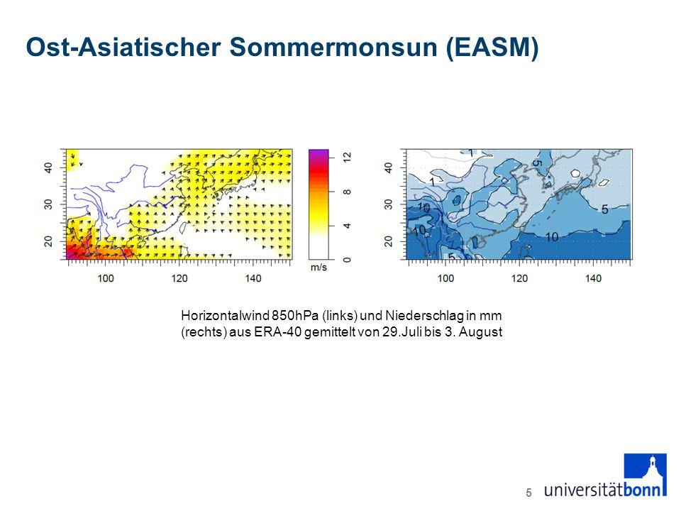 Ost-Asiatischer Sommermonsun (EASM) 5 Horizontalwind 850hPa (links) und Niederschlag in mm (rechts) aus ERA-40 gemittelt von 29.Juli bis 3.