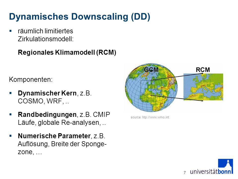 Dynamisches Downscaling (DD)  räumlich limitiertes Zirkulationsmodell: Regionales Klimamodell (RCM) Komponenten:  Dynamischer Kern, z.B.