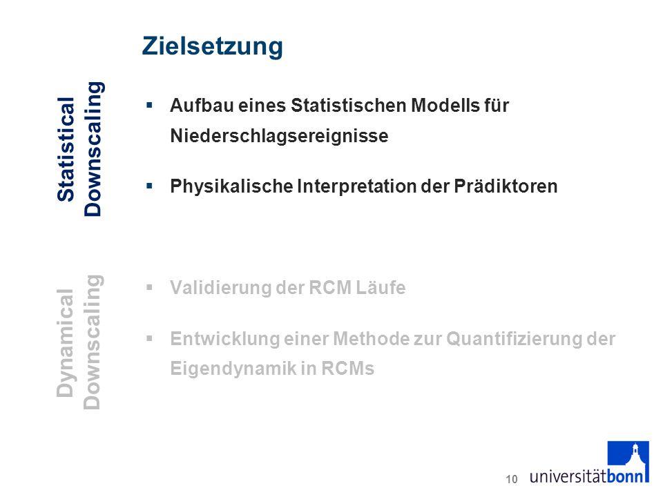 Zielsetzung  Aufbau eines Statistischen Modells für Niederschlagsereignisse  Physikalische Interpretation der Prädiktoren  Validierung der RCM Läufe  Entwicklung einer Methode zur Quantifizierung der Eigendynamik in RCMs 10 Statistical Downscaling Dynamical Downscaling