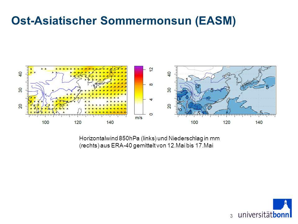 Ost-Asiatischer Sommermonsun (EASM) 3 Horizontalwind 850hPa (links) und Niederschlag in mm (rechts) aus ERA-40 gemittelt von 12.Mai bis 17.Mai