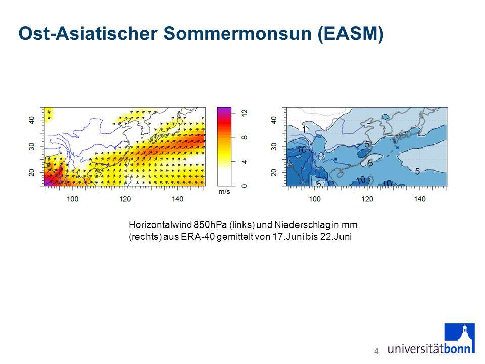 Ost-Asiatischer Sommermonsun (EASM) 4 Horizontalwind 850hPa (links) und Niederschlag in mm (rechts) aus ERA-40 gemittelt von 17.Juni bis 22.Juni