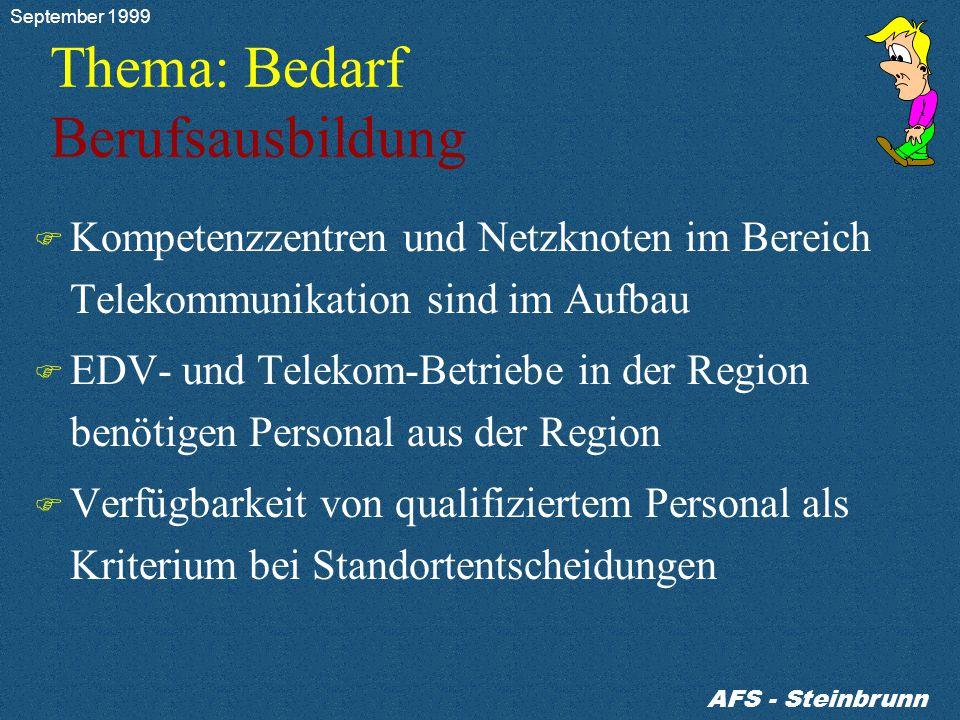 Thema: Bedarf Berufsausbildung F Kompetenzzentren und Netzknoten im Bereich Telekommunikation sind im Aufbau F EDV- und Telekom-Betriebe in der Region benötigen Personal aus der Region F Verfügbarkeit von qualifiziertem Personal als Kriterium bei Standortentscheidungen AFS - Steinbrunn September 1999