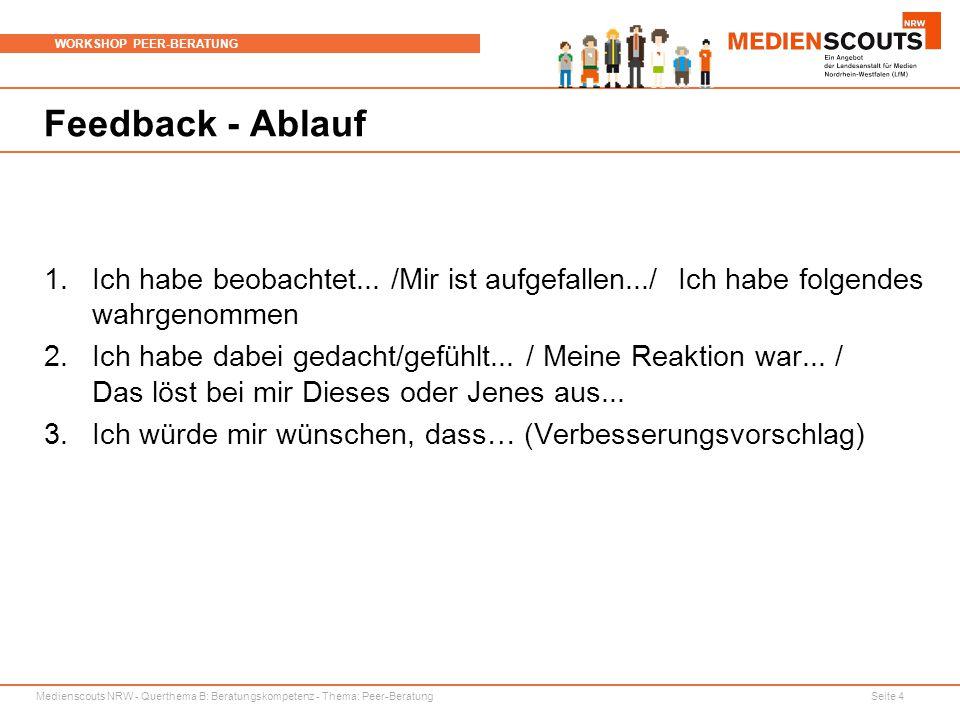 Medienscouts NRW - Querthema B: Beratungskompetenz - Thema: Peer-Beratung Seite 4 WORKSHOP PEER-BERATUNG Feedback - Ablauf 1.Ich habe beobachtet... /M