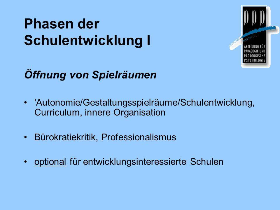 Phasen der Schulentwicklung I Öffnung von Spielräumen 'Autonomie/Gestaltungsspielräume/Schulentwicklung, Curriculum, innere Organisation Bürokratiekri
