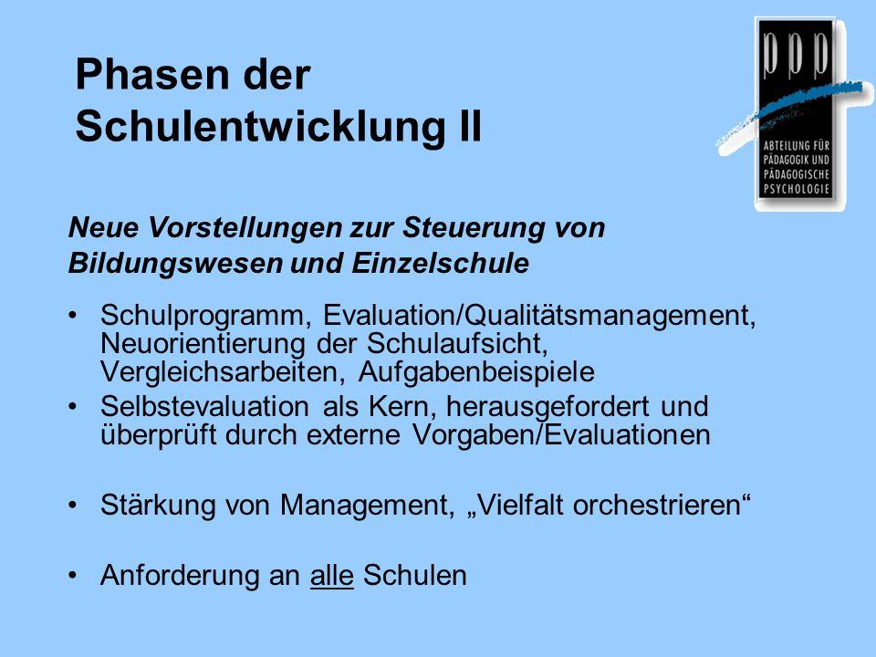 Phasen der Schulentwicklung II Neue Vorstellungen zur Steuerung von Bildungswesen und Einzelschule Schulprogramm, Evaluation/Qualitätsmanagement, Neuo