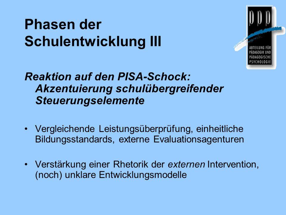 Phasen der Schulentwicklung III Reaktion auf den PISA-Schock: Akzentuierung schulübergreifender Steuerungselemente Vergleichende Leistungsüberprüfung,