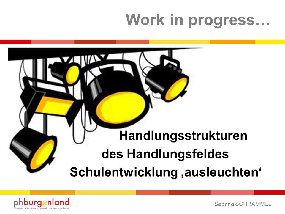 Work in progress… Handlungsstrukturen des Handlungsfeldes Schulentwicklung 'ausleuchten' Sabrina SCHRAMMEL