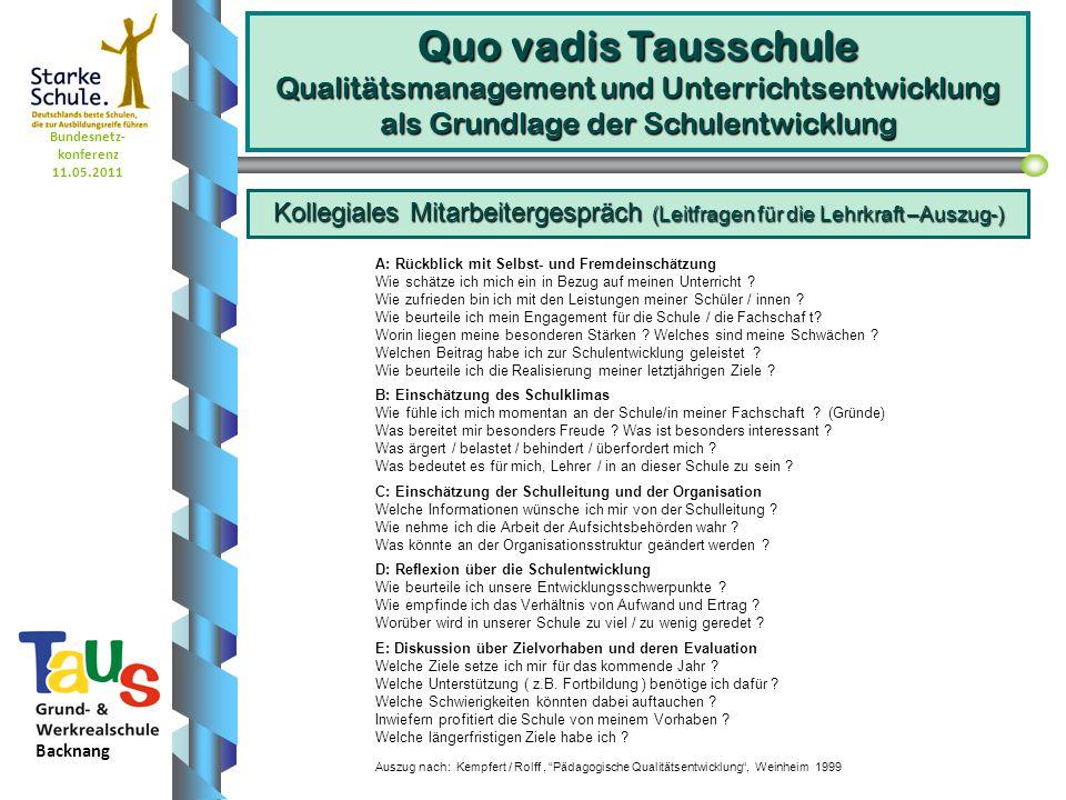 Bundesnetz- konferenz 11.05.2011 Backnang Quo vadis Tausschule Qualitätsmanagement und Unterrichtsentwicklung als Grundlage der Schulentwicklung A: Rückblick mit Selbst ‑ und Fremdeinschätzung Wie schätze ich mich ein in Bezug auf meinen Unterricht .
