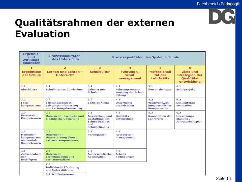Seite 13 Fachbereich Pädagogik Qualitätsrahmen der externen Evaluation