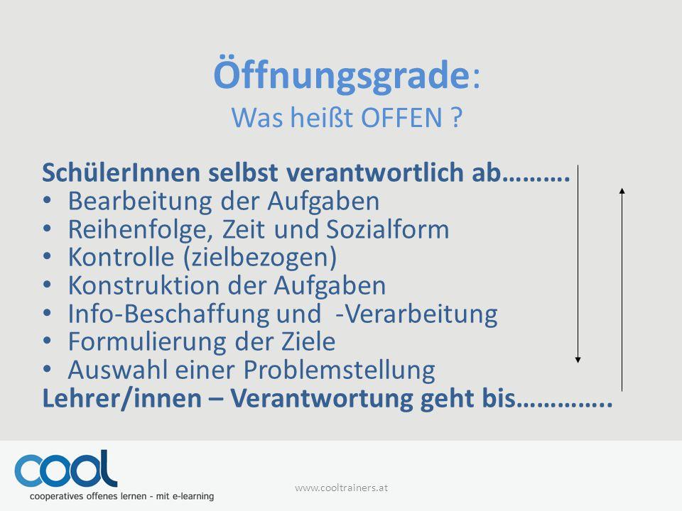 Öffnungsgrade: Was heißt OFFEN ? SchülerInnen selbst verantwortlich ab………. Bearbeitung der Aufgaben Reihenfolge, Zeit und Sozialform Kontrolle (zielbe