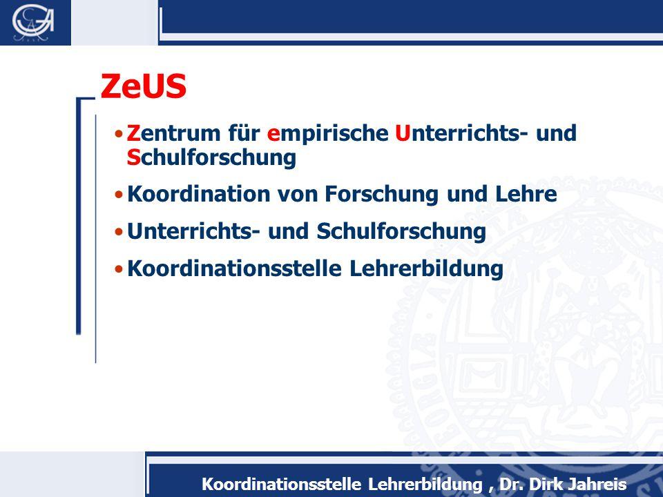 Koordinationsstelle Lehrerbildung, Dr.Dirk Jahreis Studienumfang 1.