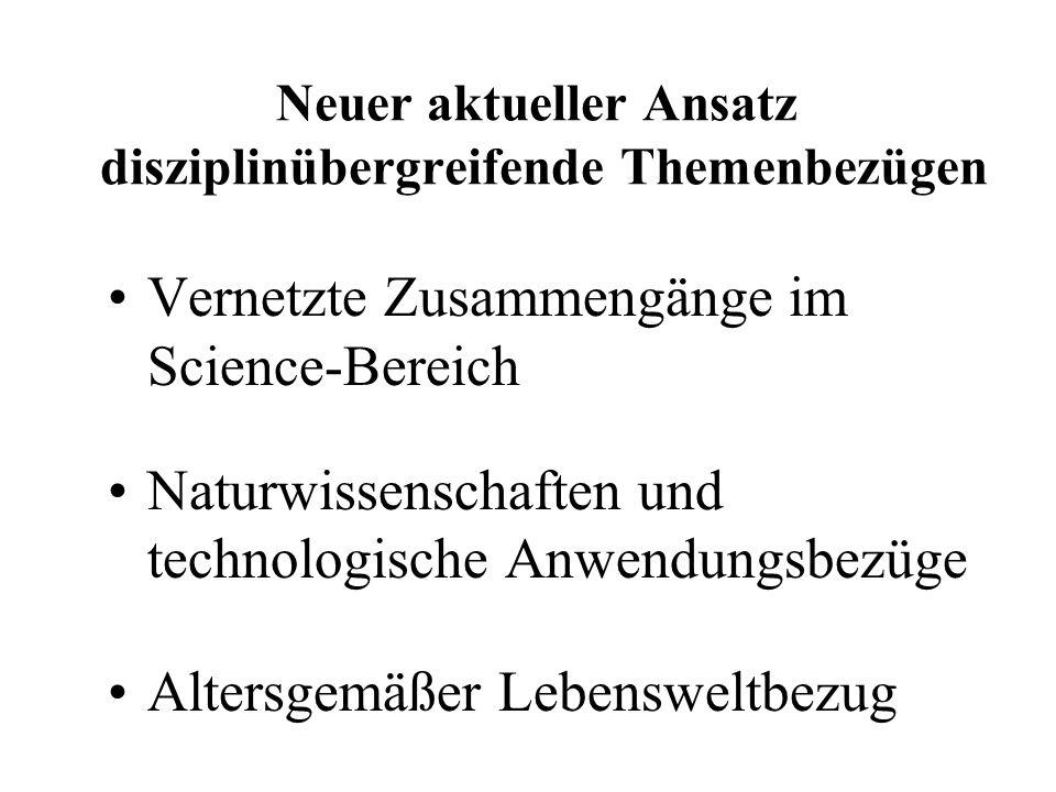 Neuer aktueller Ansatz disziplinübergreifende Themenbezügen Vernetzte Zusammengänge im Science-Bereich Naturwissenschaften und technologische Anwendungsbezüge Altersgemäßer Lebensweltbezug