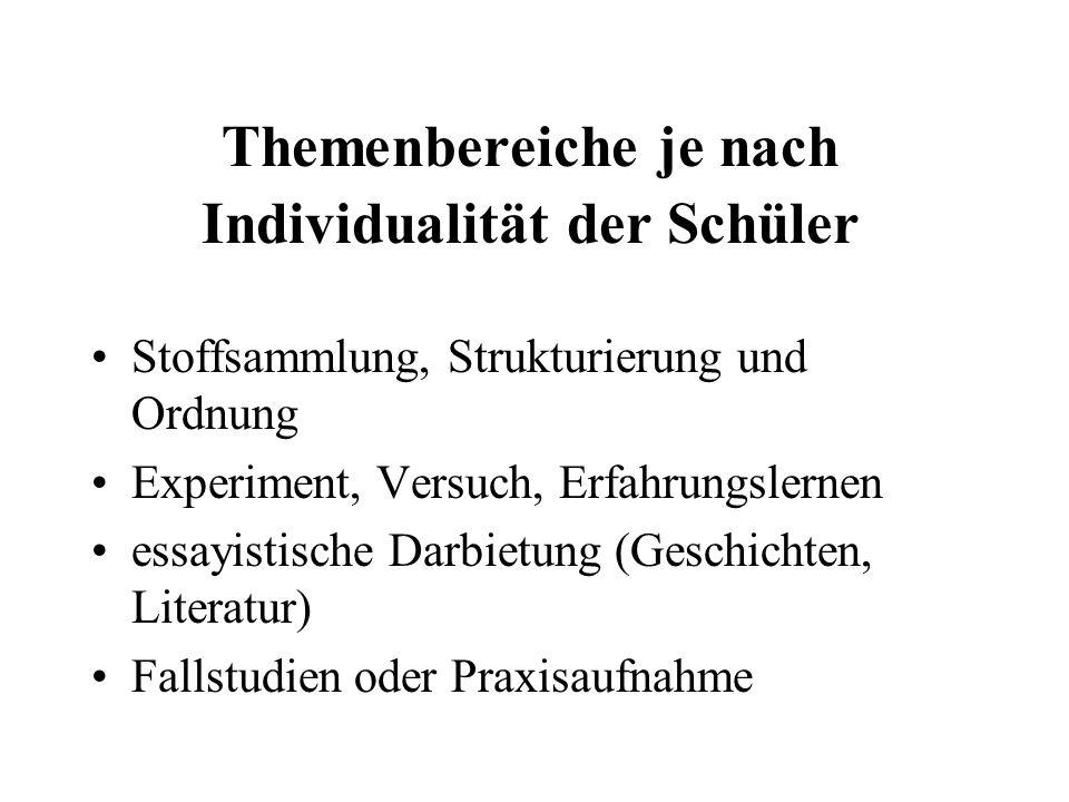 Themenbereiche je nach Individualität der Schüler Stoffsammlung, Strukturierung und Ordnung Experiment, Versuch, Erfahrungslernen essayistische Darbietung (Geschichten, Literatur) Fallstudien oder Praxisaufnahme