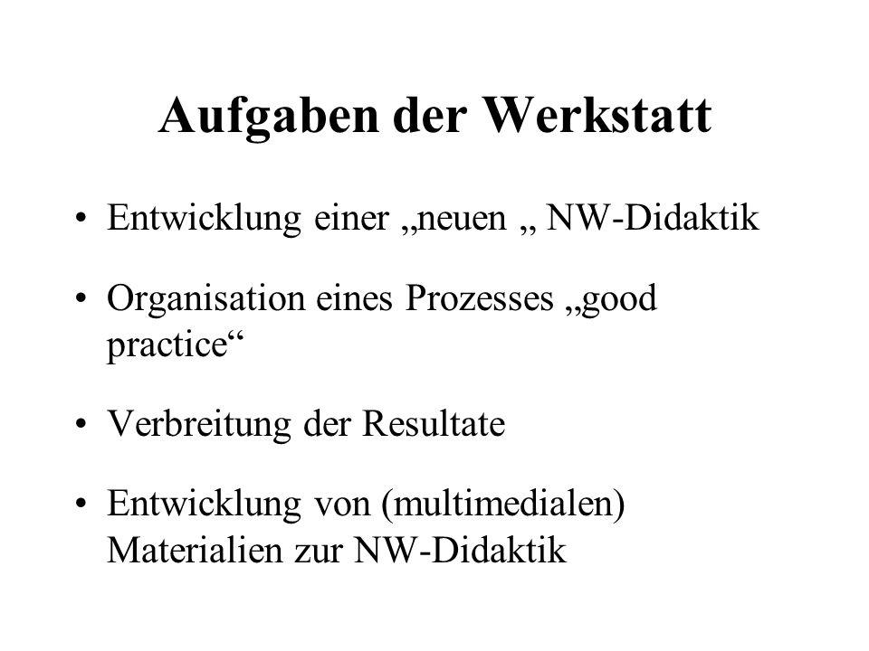 """Aufgaben der Werkstatt Entwicklung einer """"neuen """" NW-Didaktik Organisation eines Prozesses """"good practice Verbreitung der Resultate Entwicklung von (multimedialen) Materialien zur NW-Didaktik"""