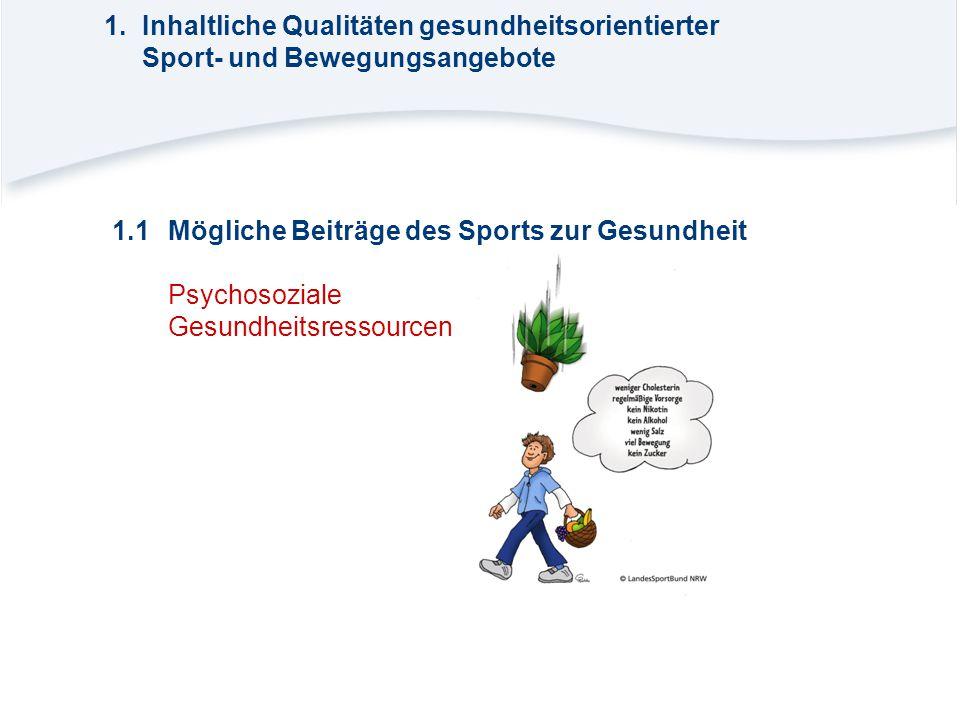 1.Inhaltliche Qualitäten gesundheitsorientierter Sport- und Bewegungsangebote 1.1Mögliche Beiträge des Sports zur Gesundheit Psychosoziale Gesundheits