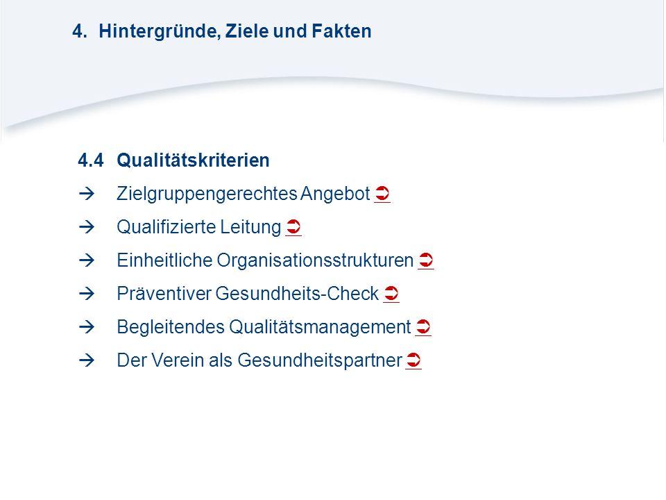 4.4Qualitätskriterien  Zielgruppengerechtes Angebot    Qualifizierte Leitung    Einheitliche Organisationsstrukturen    Präventiver Gesundhe