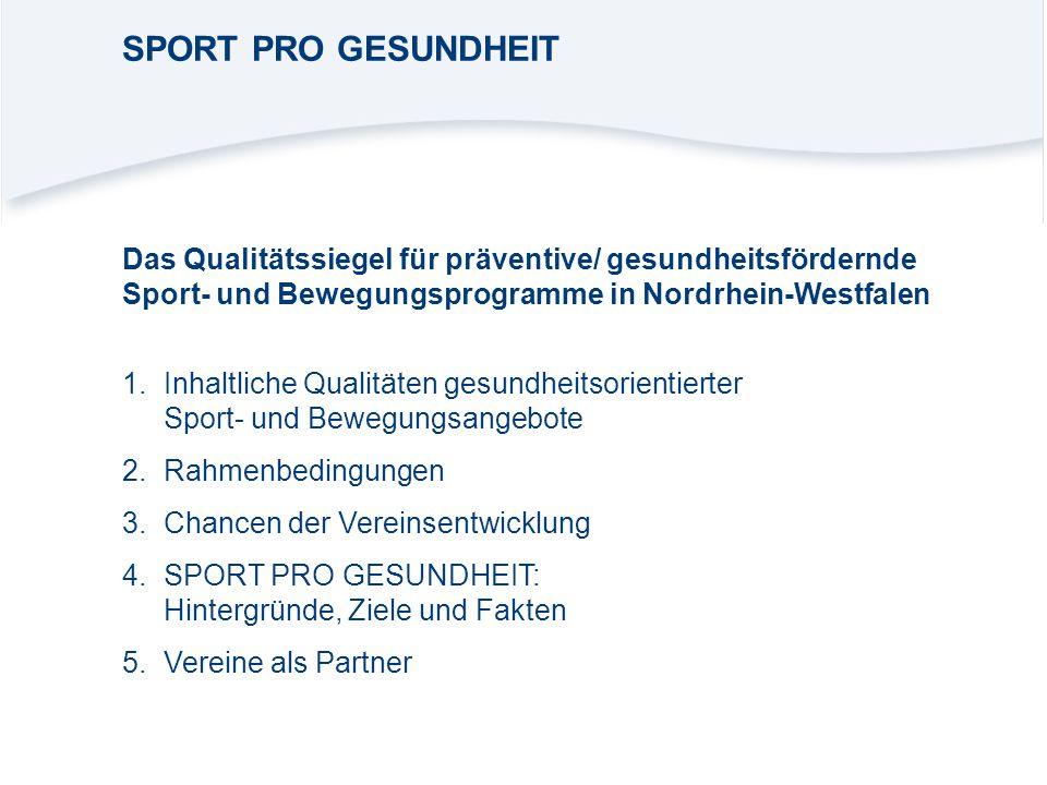 1.Inhaltliche Qualitäten gesundheitsorientierter Sport- und Bewegungsangebote 2.Rahmenbedingungen 3.Chancen der Vereinsentwicklung 4.SPORT PRO GESUNDH