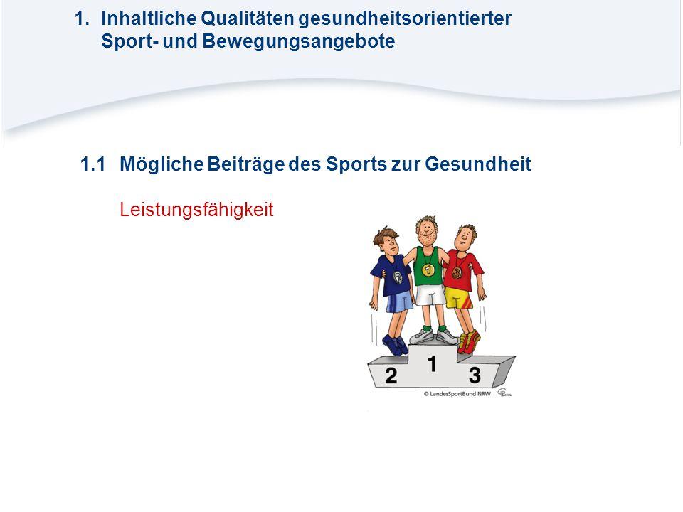 1.1Mögliche Beiträge des Sports zur Gesundheit Leistungsfähigkeit 1.Inhaltliche Qualitäten gesundheitsorientierter Sport- und Bewegungsangebote