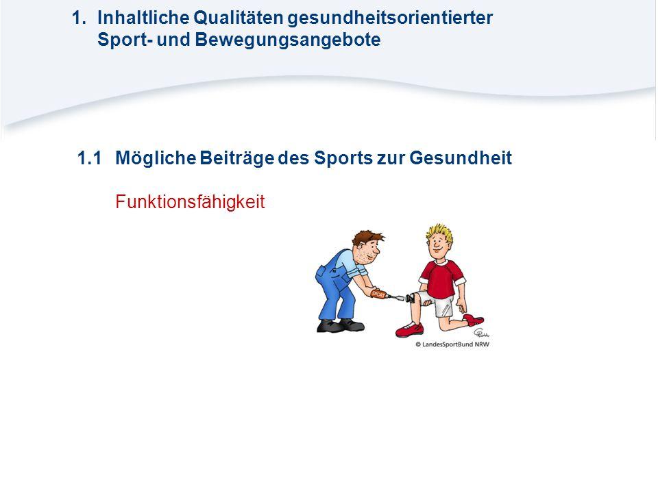 1.1Mögliche Beiträge des Sports zur Gesundheit Funktionsfähigkeit