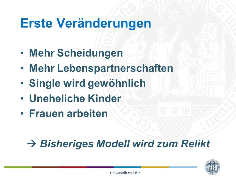 Erste Veränderungen Mehr Scheidungen Mehr Lebenspartnerschaften Single wird gewöhnlich Uneheliche Kinder Frauen arbeiten  Bisheriges Modell wird zum Relikt Universität zu Köln