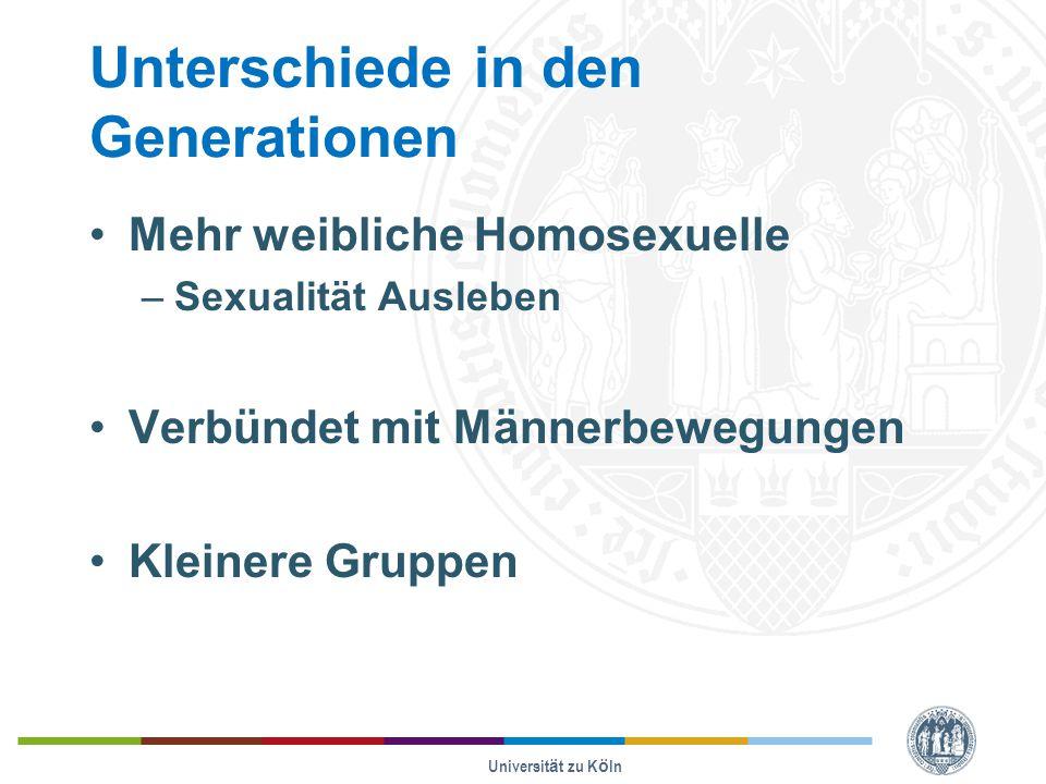 Unterschiede in den Generationen Mehr weibliche Homosexuelle –Sexualität Ausleben Verbündet mit Männerbewegungen Kleinere Gruppen Universität zu Köln