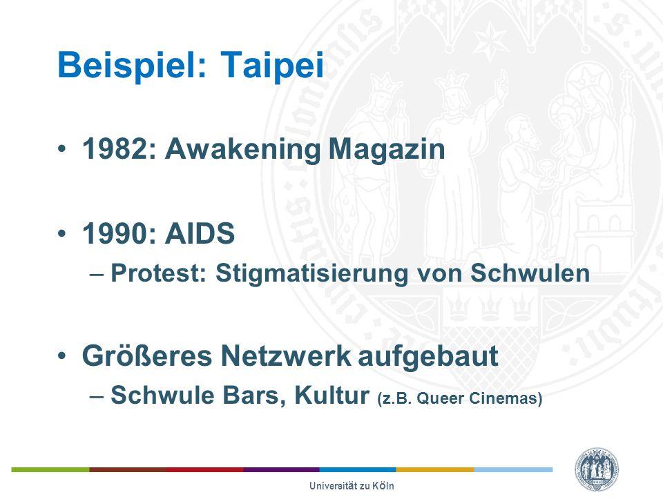 Beispiel: Taipei 1982: Awakening Magazin 1990: AIDS –Protest: Stigmatisierung von Schwulen Größeres Netzwerk aufgebaut –Schwule Bars, Kultur (z.B. Que