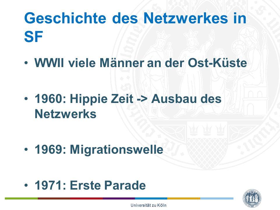 Geschichte des Netzwerkes in SF WWII viele Männer an der Ost-Küste 1960: Hippie Zeit -> Ausbau des Netzwerks 1969: Migrationswelle 1971: Erste Parade