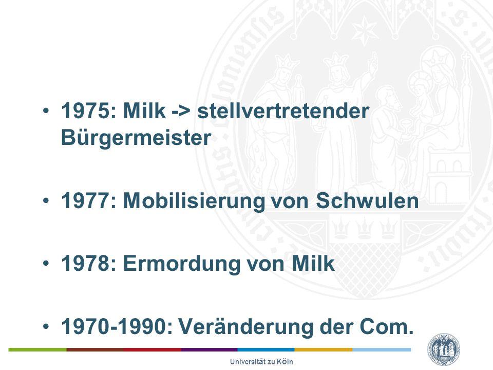 1975: Milk -> stellvertretender Bürgermeister 1977: Mobilisierung von Schwulen 1978: Ermordung von Milk 1970-1990: Veränderung der Com.