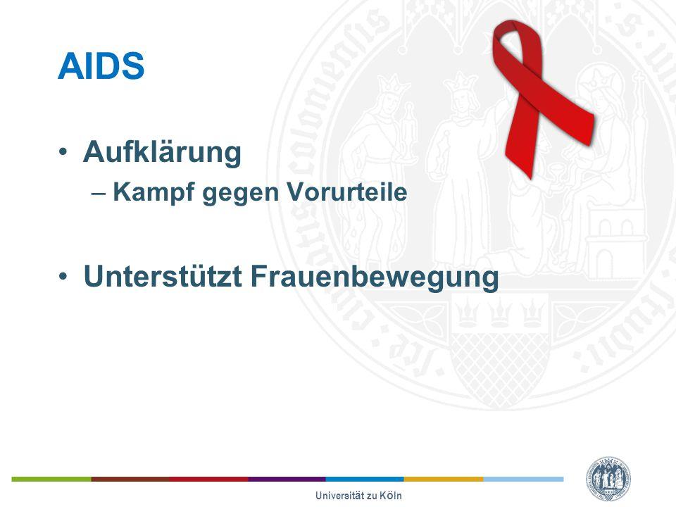 AIDS Aufklärung –Kampf gegen Vorurteile Unterstützt Frauenbewegung Universität zu Köln
