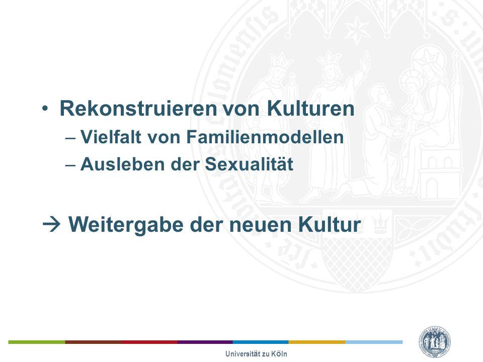 Rekonstruieren von Kulturen –Vielfalt von Familienmodellen –Ausleben der Sexualität  Weitergabe der neuen Kultur Universität zu Köln