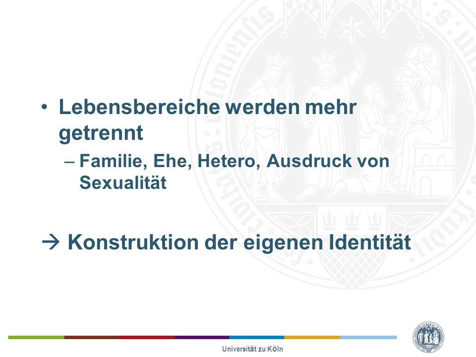 Lebensbereiche werden mehr getrennt –Familie, Ehe, Hetero, Ausdruck von Sexualität  Konstruktion der eigenen Identität Universität zu Köln
