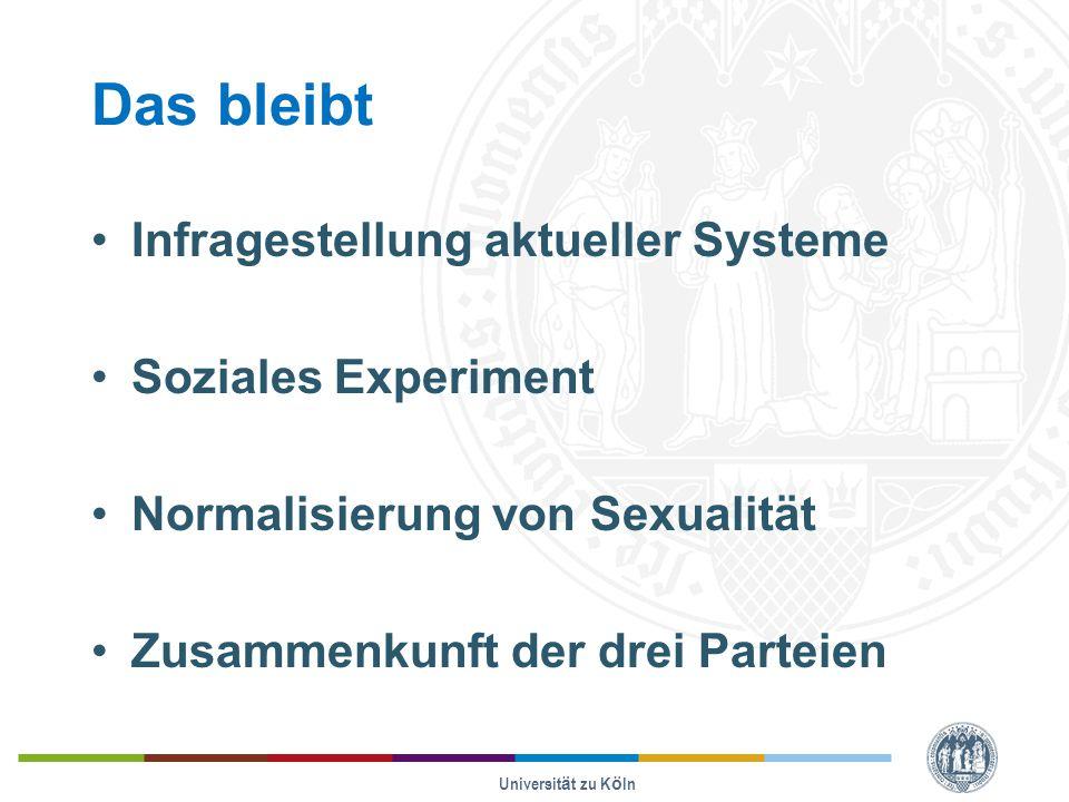 Das bleibt Infragestellung aktueller Systeme Soziales Experiment Normalisierung von Sexualität Zusammenkunft der drei Parteien Universität zu Köln