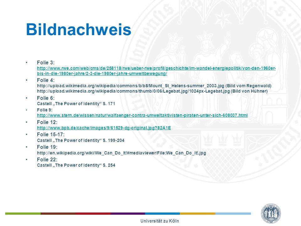 """Bildnachweis Folie 3: http://www.rwe.com/web/cms/de/258118/rwe/ueber-rwe/profil/geschichte/im-wandel-energiepolitik/von-den-1960er- bis-in-die-1980er-jahre/2-3-die-1980er-jahre-umweltbewegung/ http://www.rwe.com/web/cms/de/258118/rwe/ueber-rwe/profil/geschichte/im-wandel-energiepolitik/von-den-1960er- bis-in-die-1980er-jahre/2-3-die-1980er-jahre-umweltbewegung/ Folie 4: http://upload.wikimedia.org/wikipedia/commons/b/b8/Mount_St_Helens-summer_2003.jpg (Bild vom Regenwald) http://upload.wikimedia.org/wikipedia/commons/thumb/0/06/Legebat.jpg/1024px-Legebat.jpg (Bild von Hühner) Folie 6: Castell """"The Power of Identity S."""